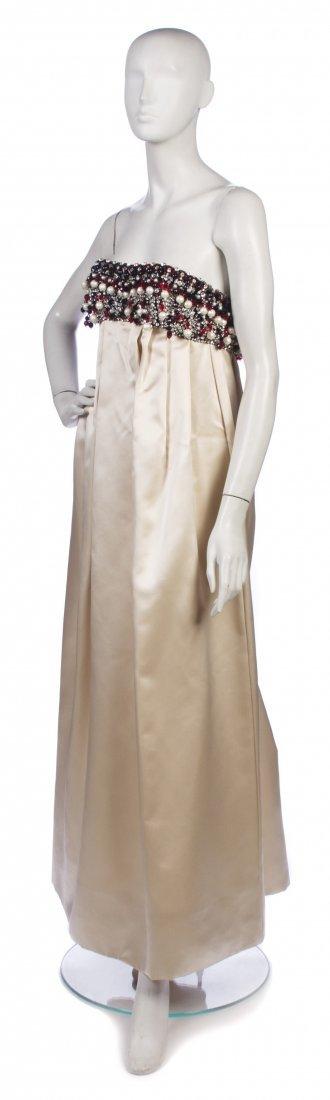 202: A George Halley Blush Satin Strapless Gown,