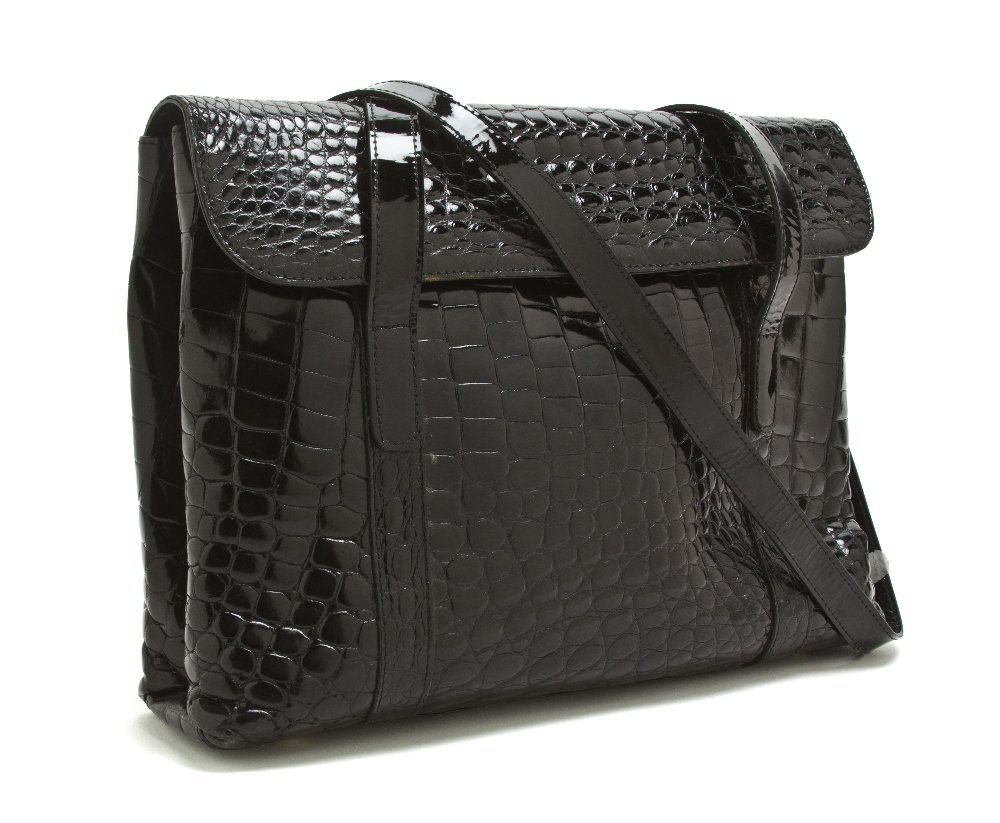 540: A Mr. Jay Black Patent Alligator Bag, 13 x 9 1/2 x