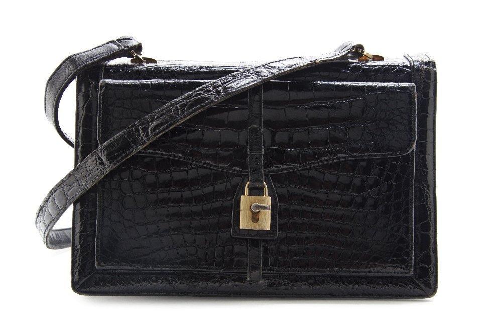 541: A Rosenfeld Black Alligator Bag, 9 1/2 x 7 x 1 inc