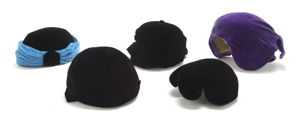 550: A Group of Five Velvet Paulette Hats.