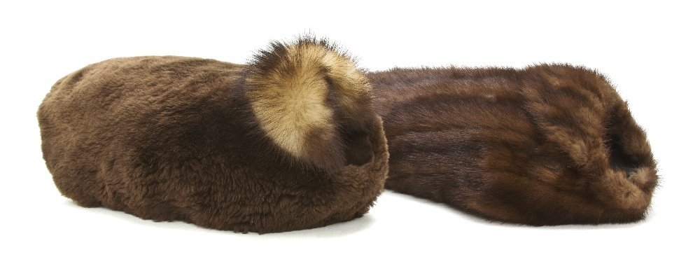 554A: Two Brown Mink Fur Coats for Dogs,