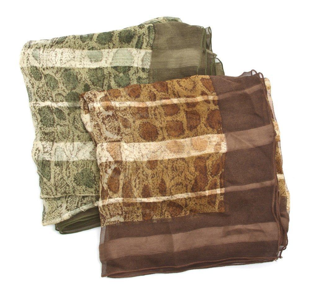 555: Two Geoffrey Beene Printed Silk Scarves, 34 x 34 i