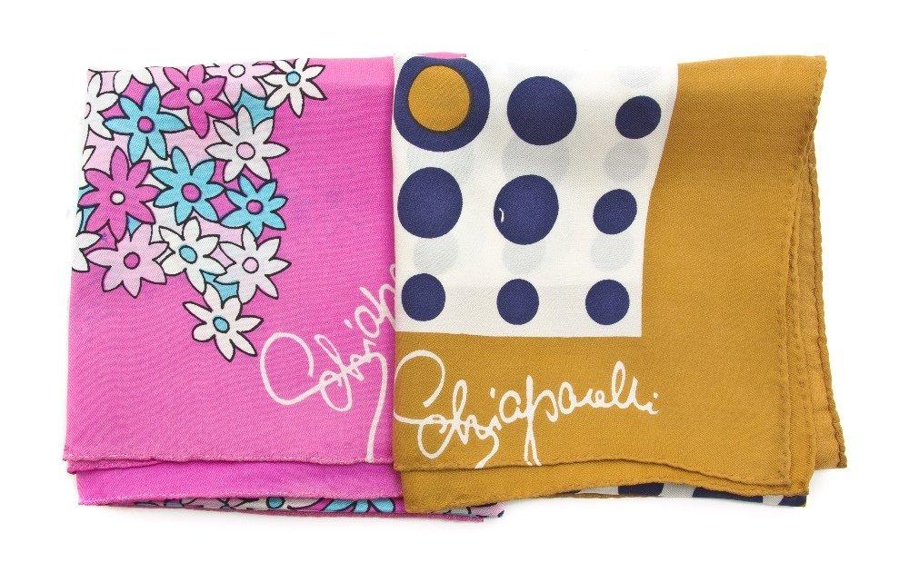 556: Two Elsa Schiaparelli Silk Scarves,