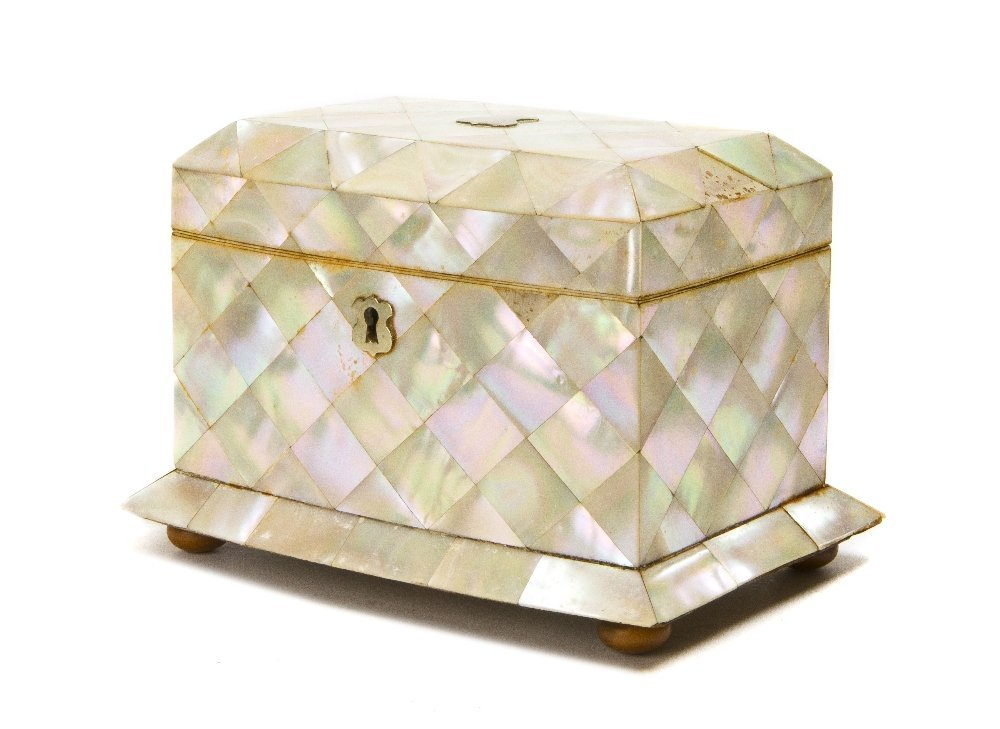 3: A Mother-of-Pearl Veneered Table Casket, Height 5 x