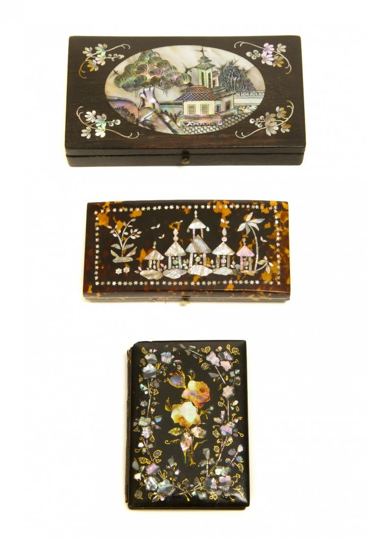 4: A Tortoise Shell and Mother-of-Pearl Inset Box, Leng