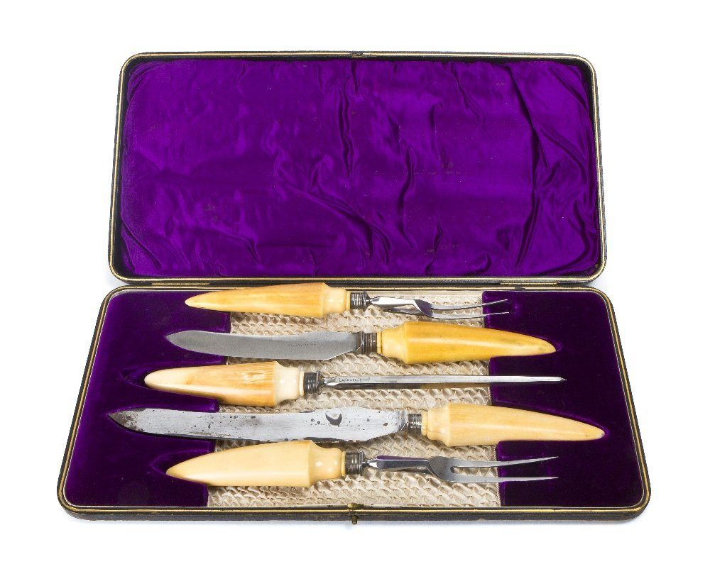 7: An Edwardian Ivory Mounted Carving Set, Length of lo