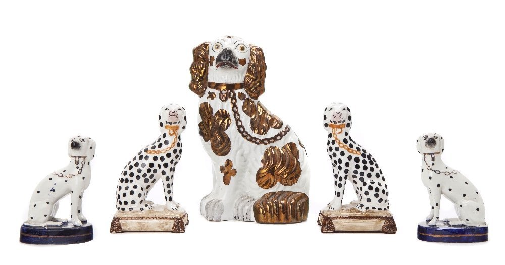 8: A Collection of Five Staffordshire Dogs, Height of f