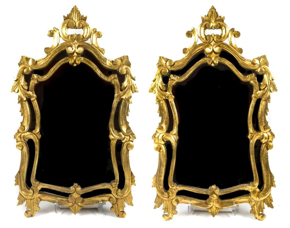 13: A Pair of Louis XV Style Giltwood Mirrors, Height 3