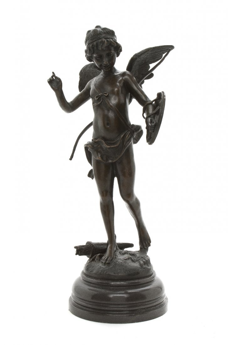 15: A Patinated Bronze Figure of Cupid, after Auguste M