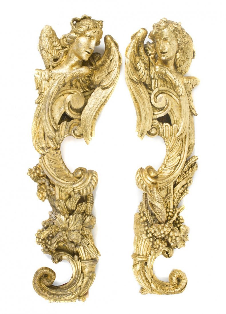 16: A Pair of Giltwood Wall Appliques, Height 48 inches