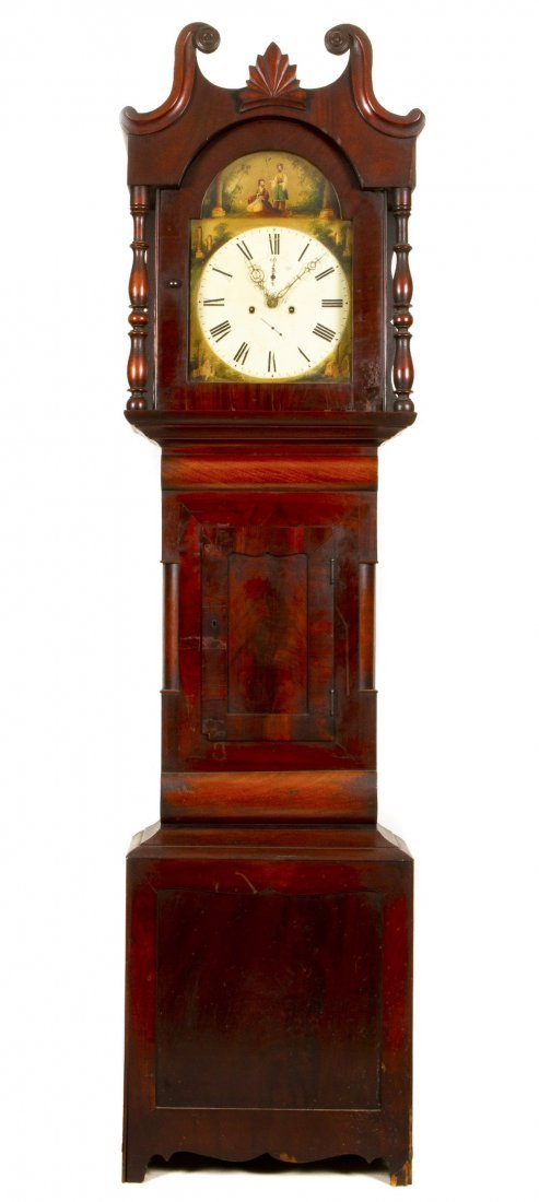 17: An American Chippendale Style Mahogany Tall Case Cl