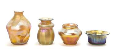 206: A Collection of Four Tiffany Studios Favrile Glass