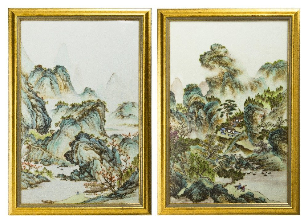 394: A Pair of Chinese Porcelain Plaques, Height 14 1/4