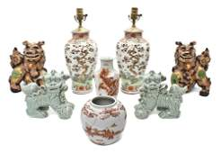 403: Two Pairs of Ceramic Fu Dogs, Height of tallest 16