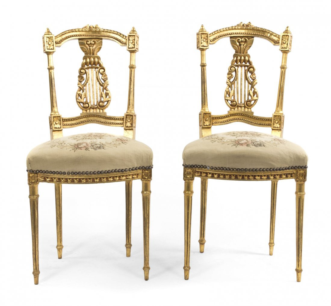 2001: A Pair of Neoclassical Giltwood Side Chairs, Heig