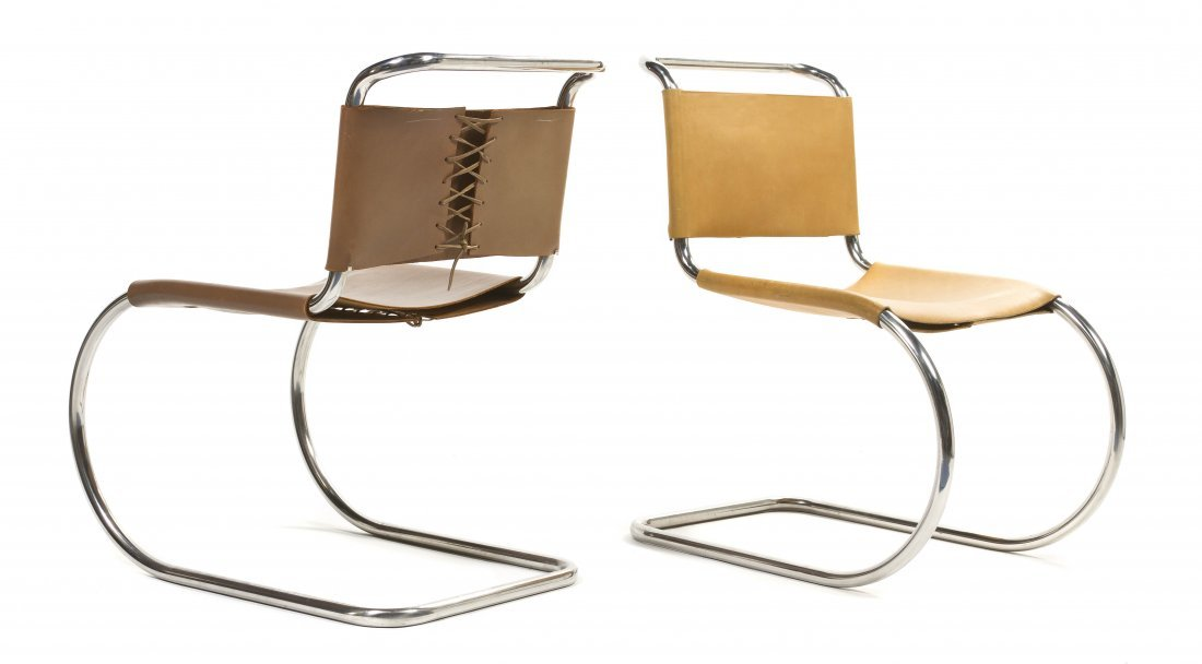 2007: A Pair of Leather and Chrome MR Lounge Chairs, Mi