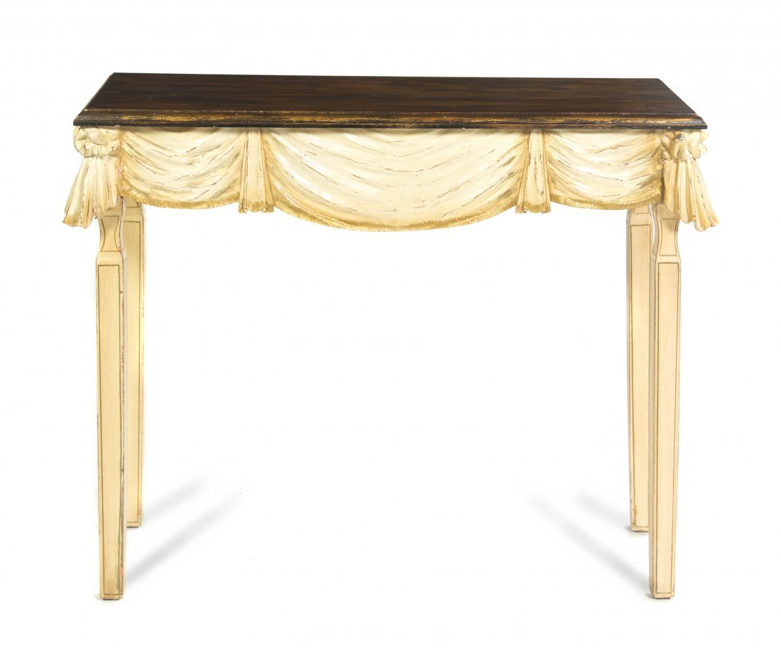 2008: A Neoclassical Painted Console Table, Height 32 1