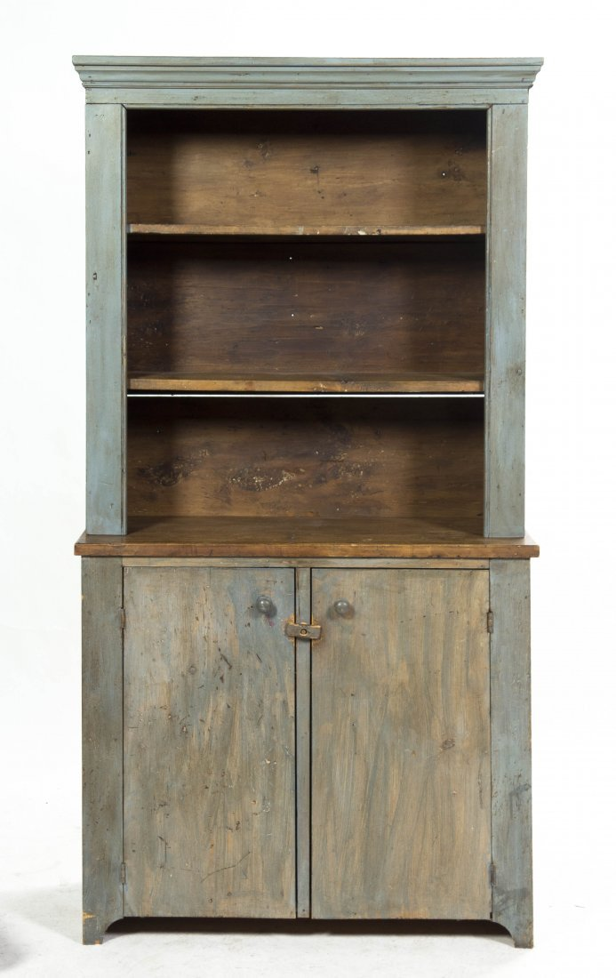 2017: A Provincial Painted Pine Stepback Cupboard, Heig