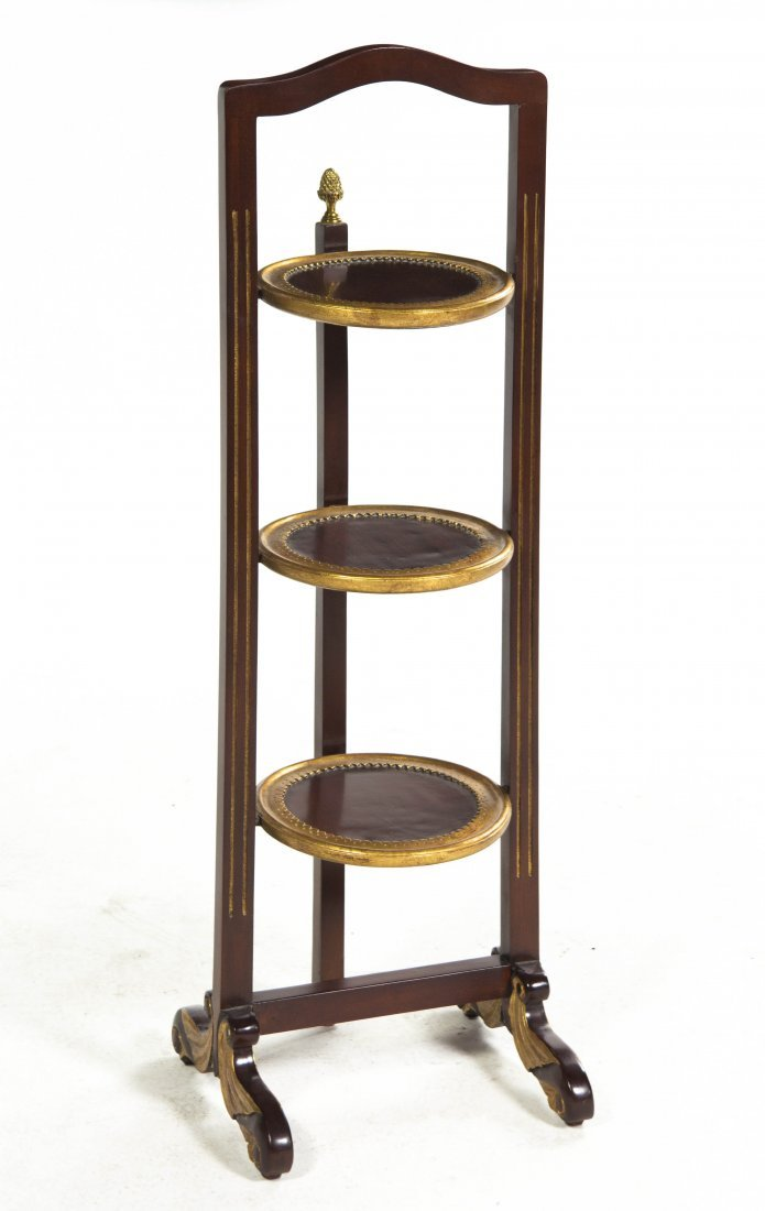 2021: A Three-Tier Painted and Parcel Gilt Plate Stand,
