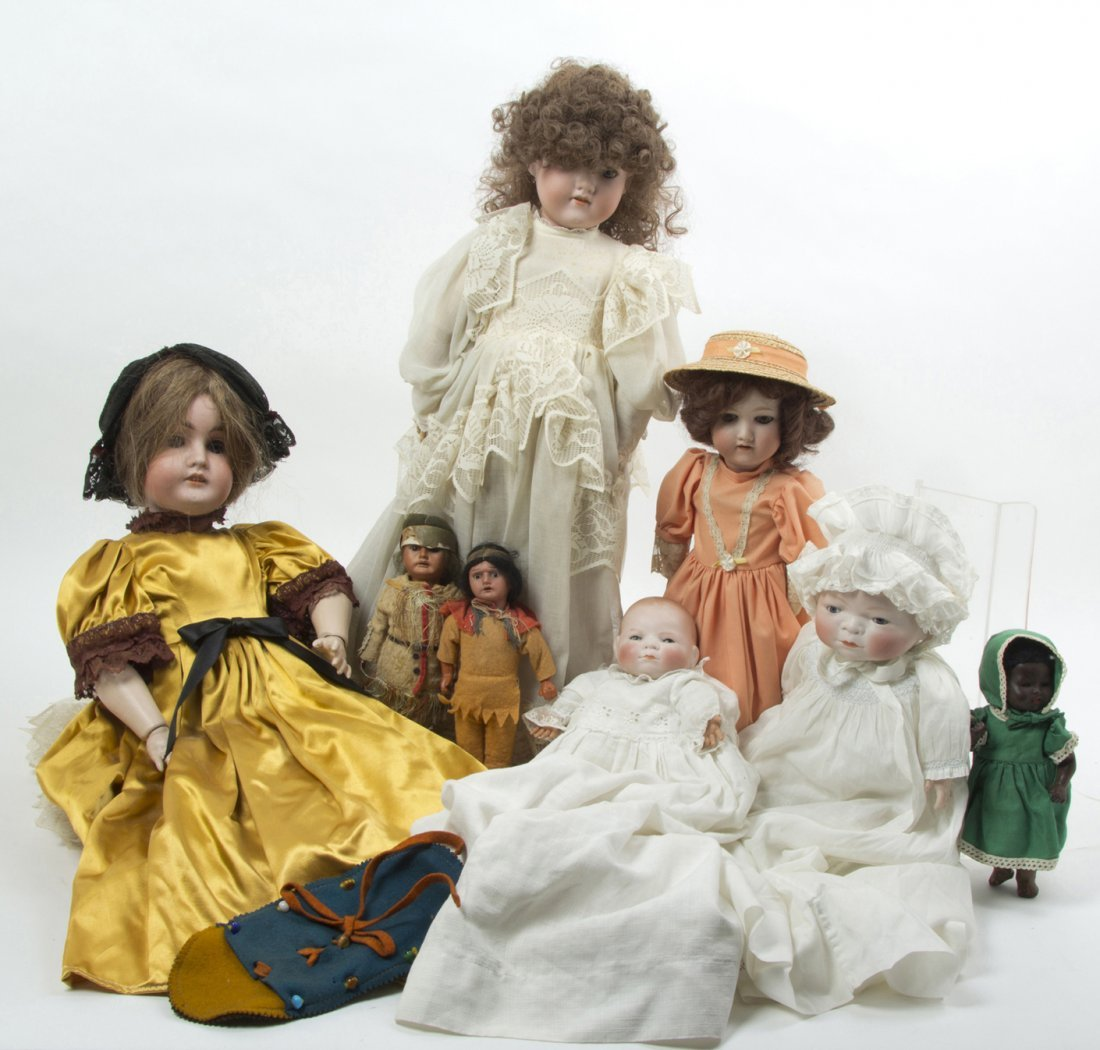 2355: A Group of Seven German Porcelain Dolls, Height o