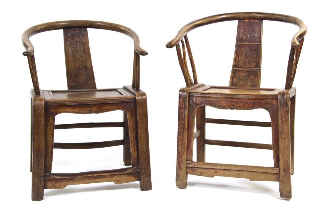 2407: A Near Pair of Chinese Softwood Yokeback Armchair