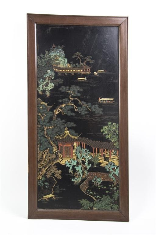 2408: A Chinese Lacquered Panel, Height of panel 36 1/4
