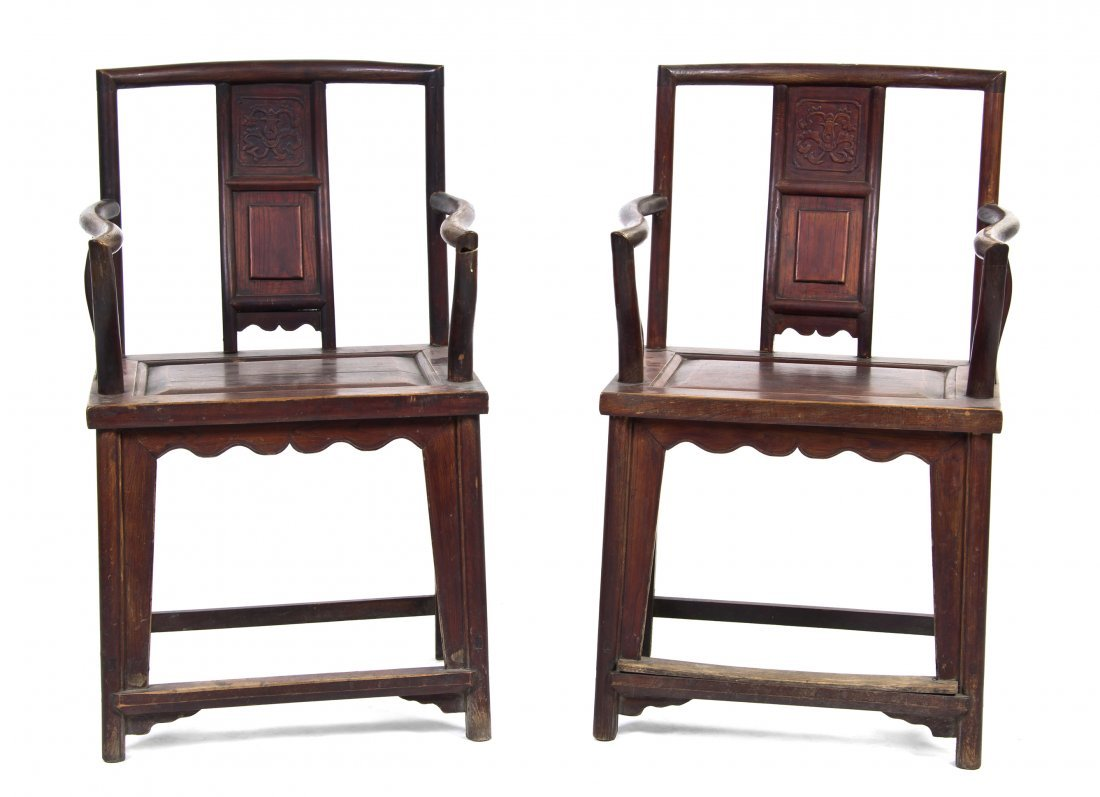 2409: A Pair of Chinese Carved Elm Armchairs, Height 37
