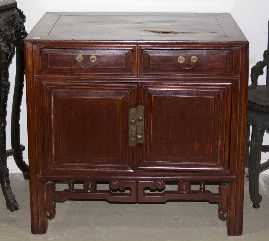 2410: A Chinese Hardwood Cabinet, Height 37 x width 34