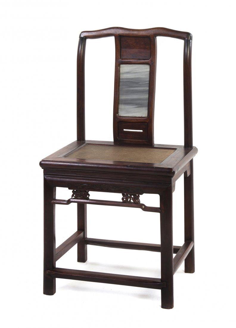 2411: A Chinese Hardwood Yokeback Side Chair, Height 36