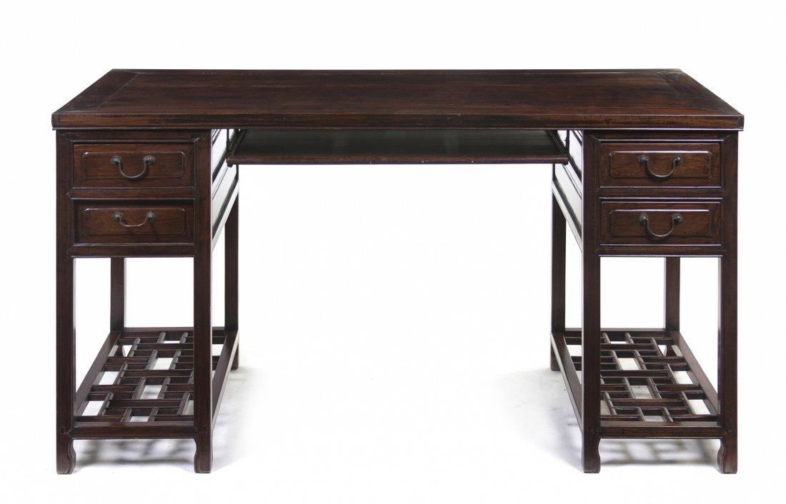 2412: A Chinese Hardwood Pedestal Desk, Height 32 1/2 x