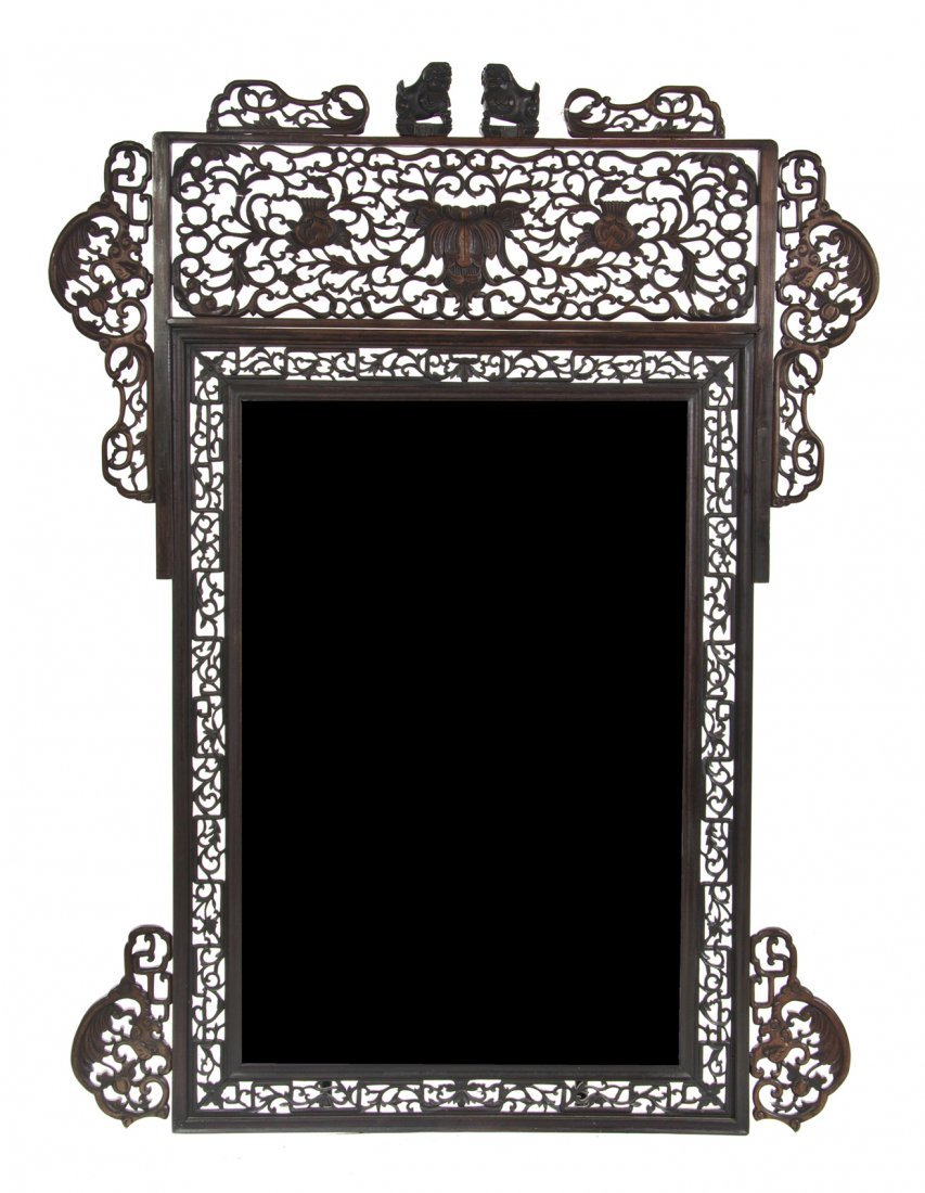 2413: A Chinese Carved Wood Mirror, Height 85 1/2 x wid