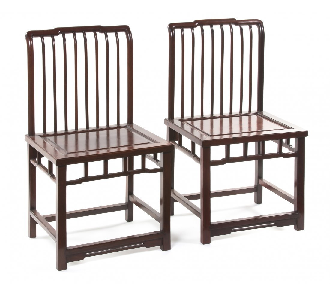 2414: A Pair of Chinese Hardwood Side Chairs, Height 36