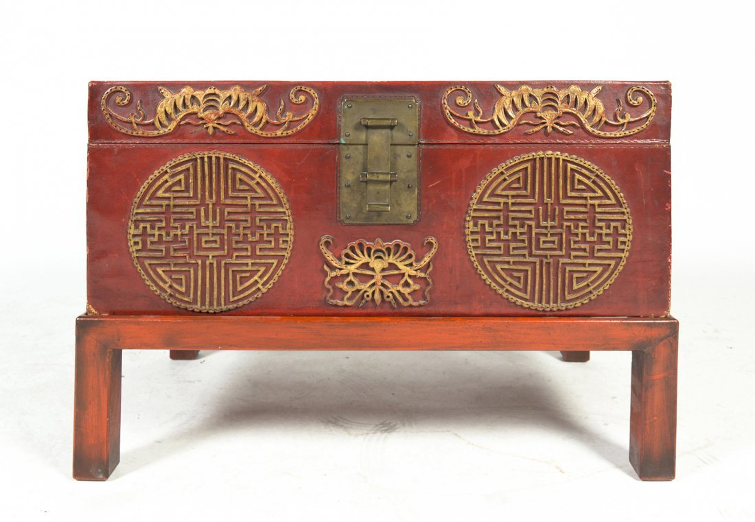 2415: A Chinese Pigskin Case on Stand, Height 12 1/4 x
