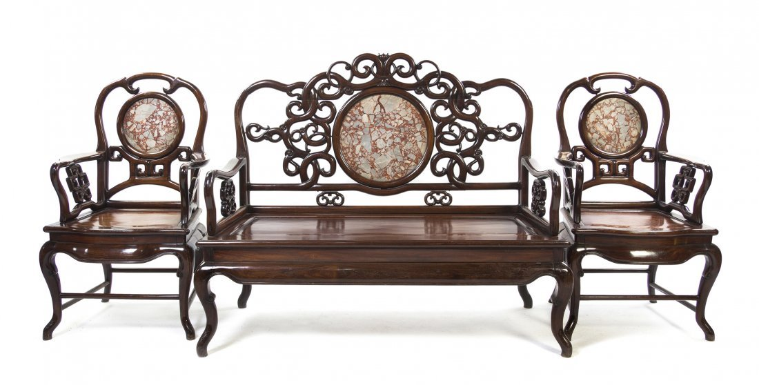 2416: A Chinese Hardwood Parlour Suite, Height of sette