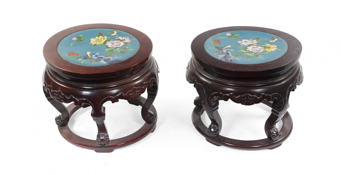 2418: A Pair of Chinese Cloisonne Inset Stools, Height
