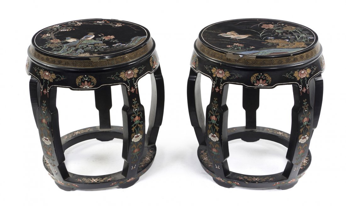 2419: A Pair of Chinese Lacquered Garden Seats, Height