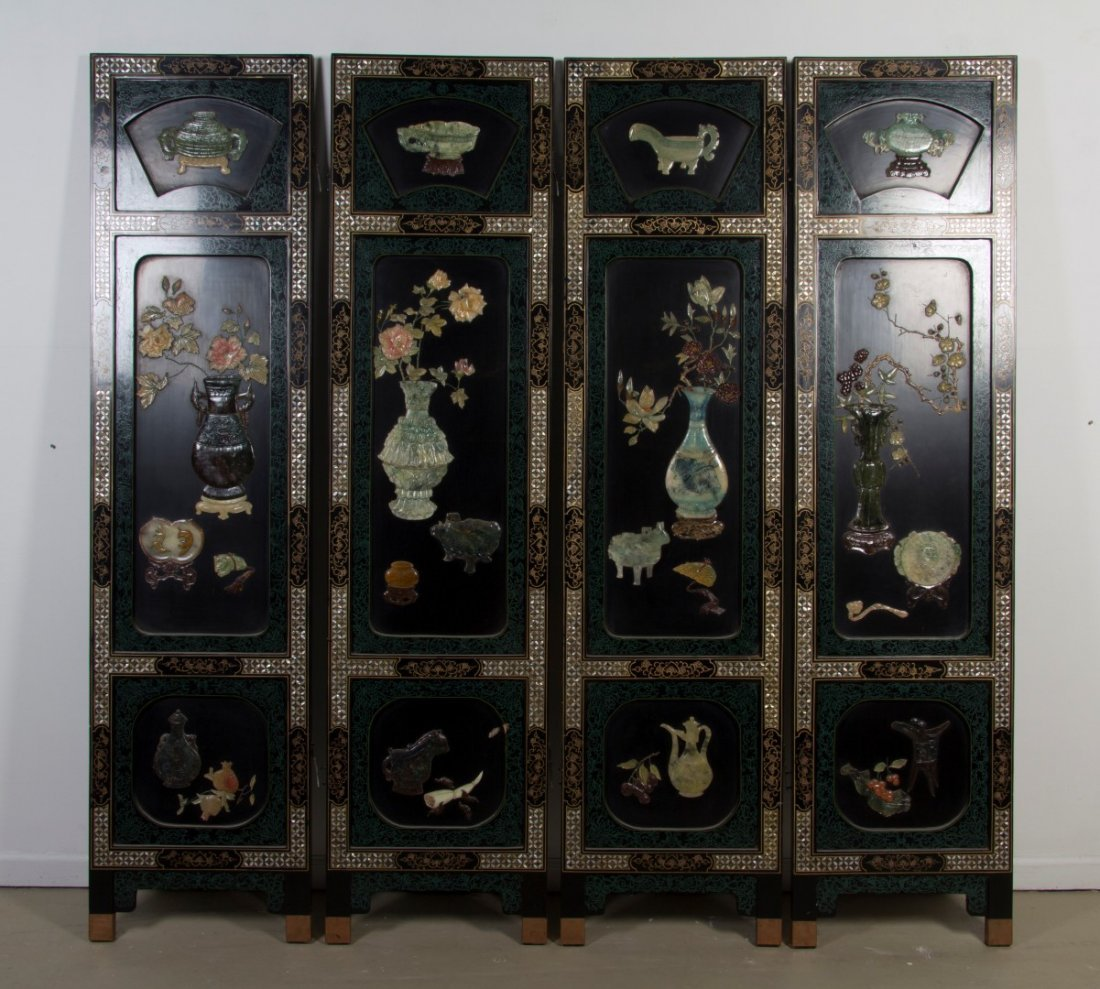 2420: A Chinese Hardstone and Mother-of-Pearl Inset Flo