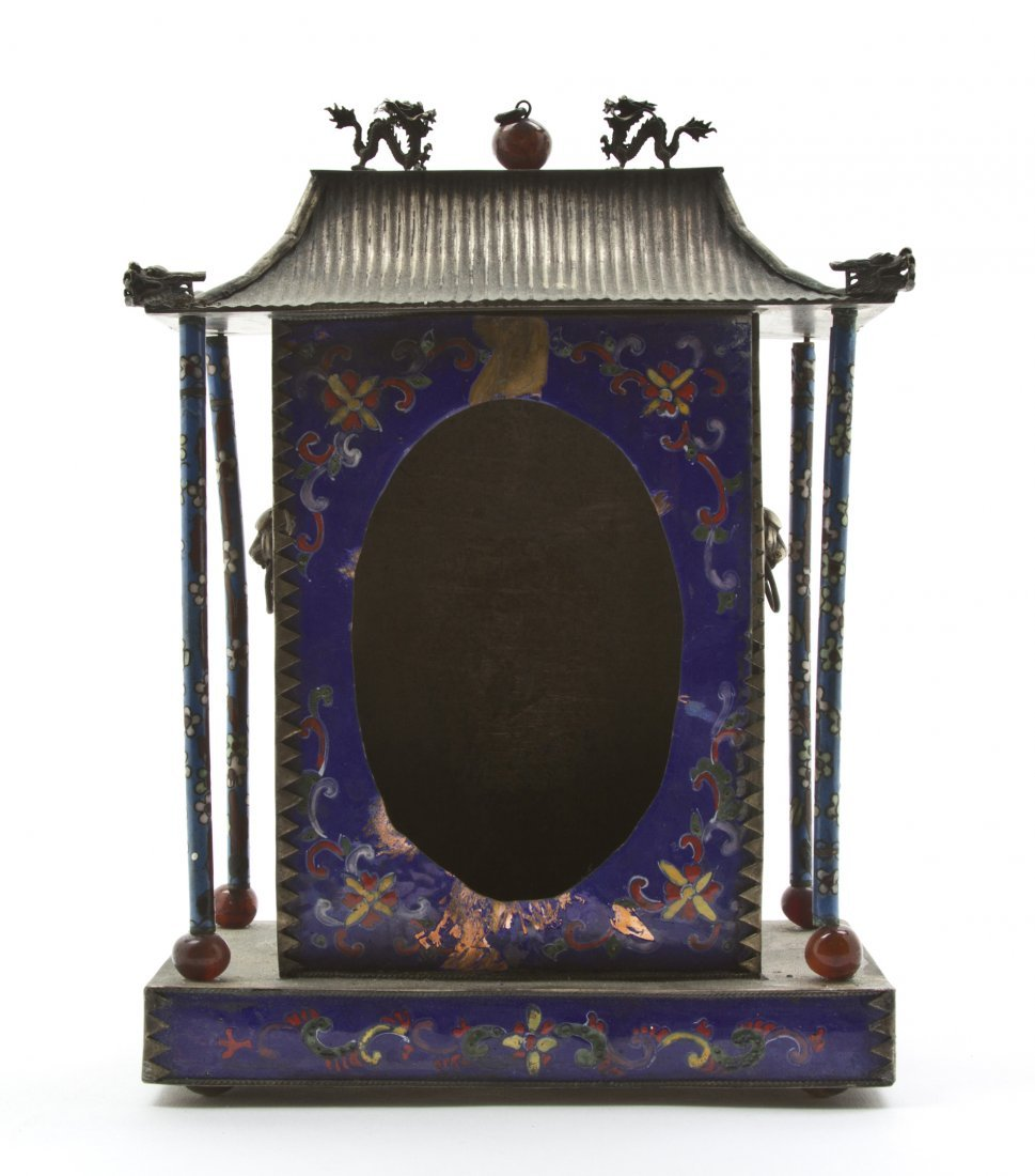 2426: A Chinese Cloisonne Enamel Clock Case, Height 8 1