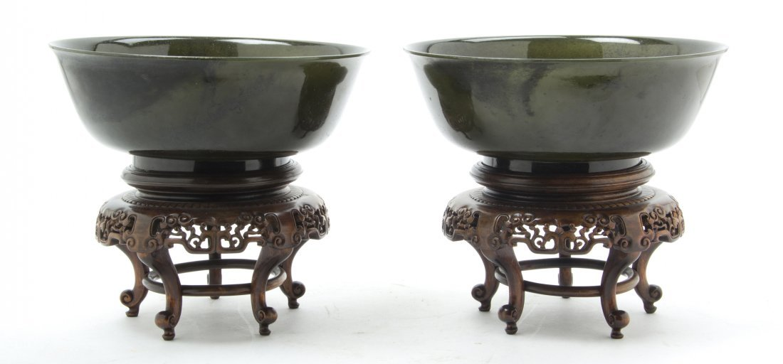 2492: A Pair of Chinese Hardstone Spinach Green Bowls,