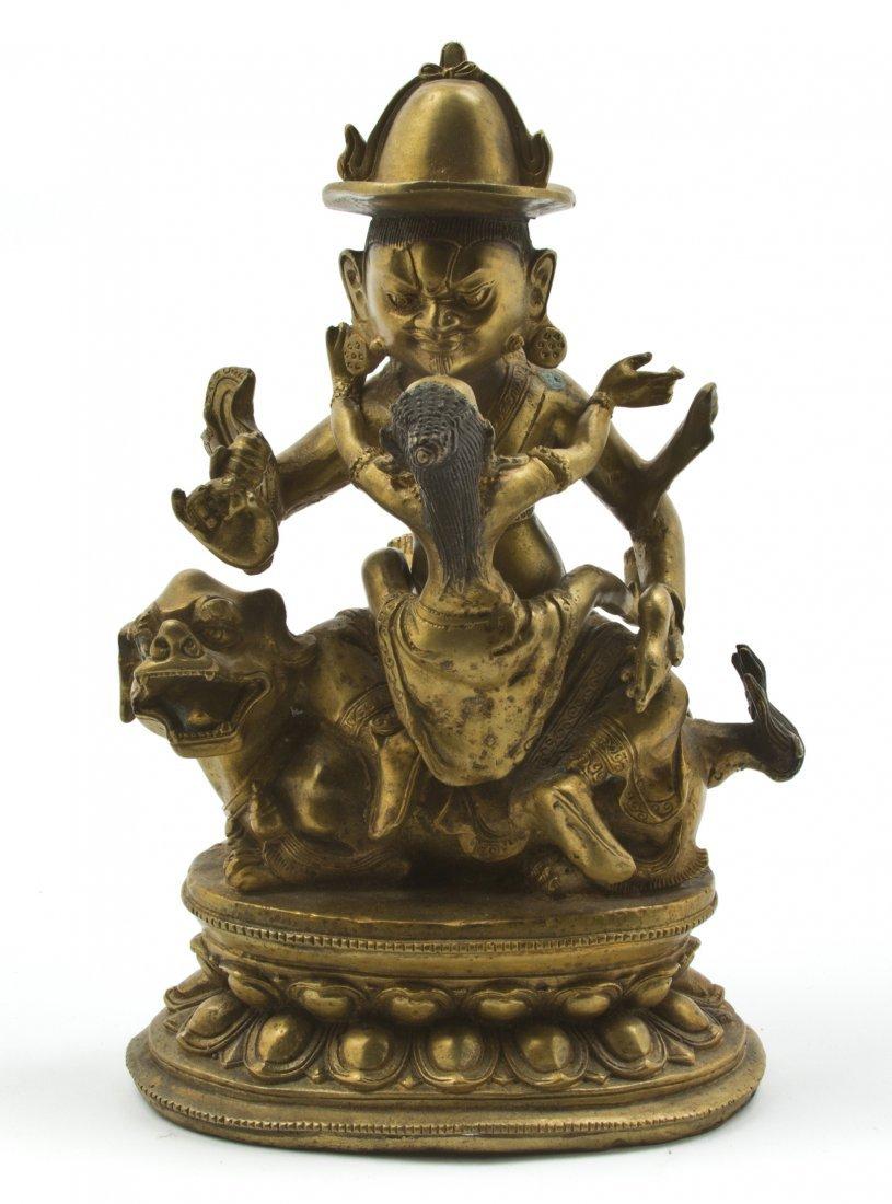 2579: A Sino-Tibetan Gilt Bronze Deity, Height 10 3/8 i