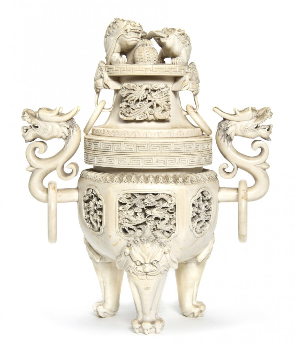 2603: A Carved Ivory Censer, Height 12 3/8 inches.