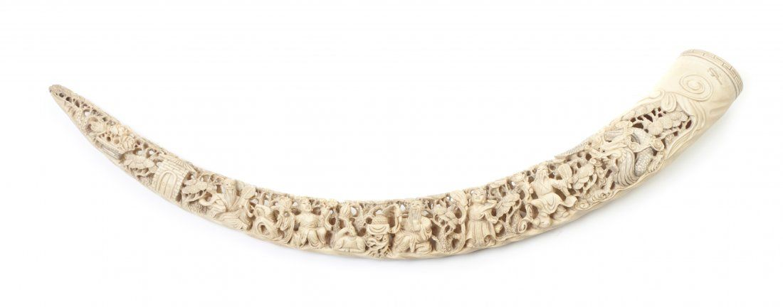 A Chinese Carved Ivory Tusk, Length 20 3/4 inches