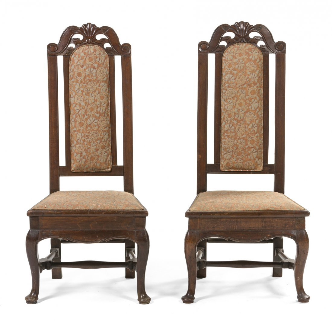 1: A Pair of Italian Walnut Hall Chairs, Height 43 inch