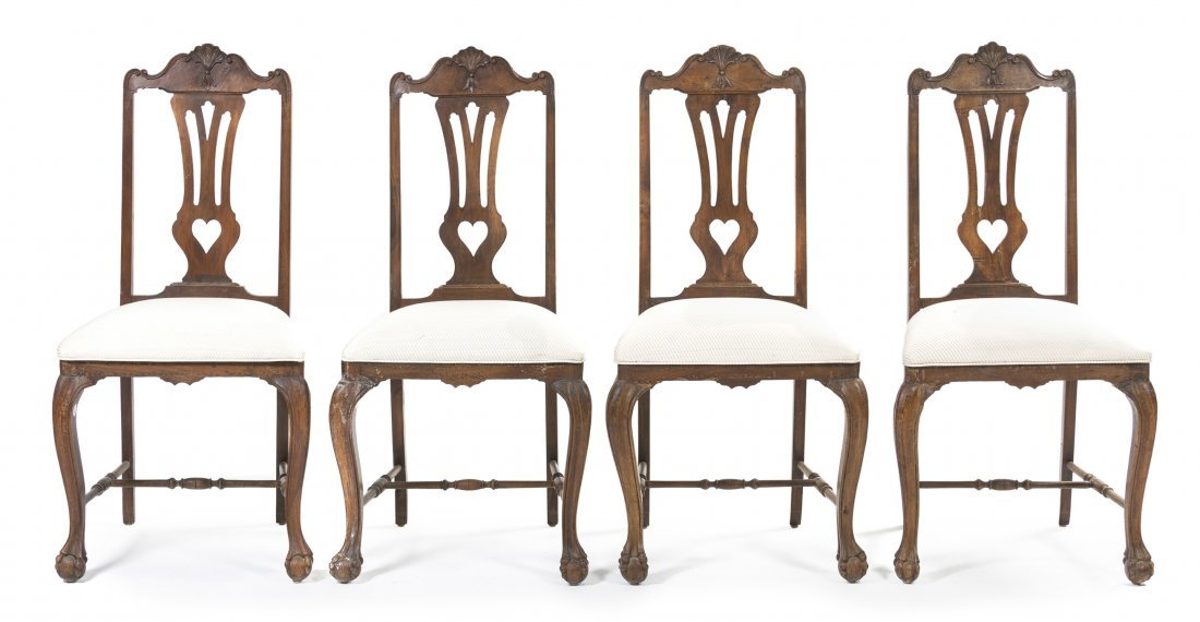 2: A Set of Four Spanish Walnut Side Chairs, Height 43