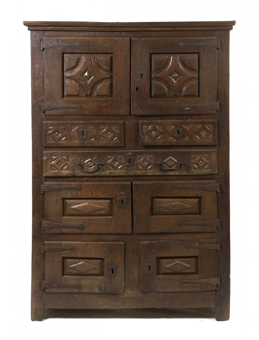 3: A Spanish Colonial Hardwood Cabinet, Height 76 x wid