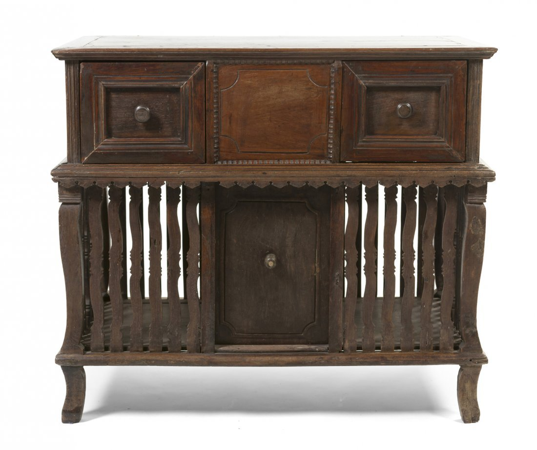 4: A Spanish Colonial Side Cabinet, Height 37 x width 4