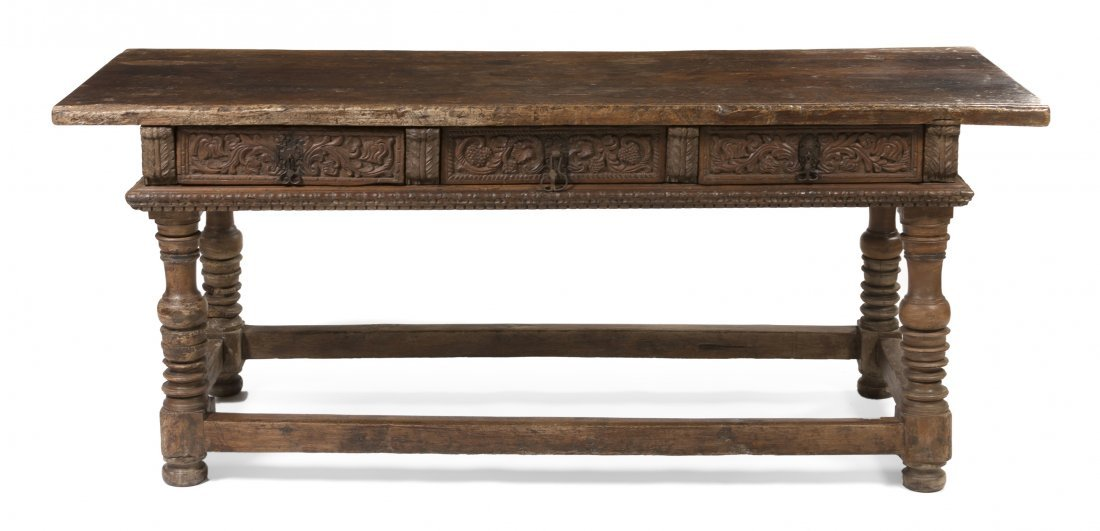 5: A Spanish Baroque Carved Walnut Console Table, Heigh