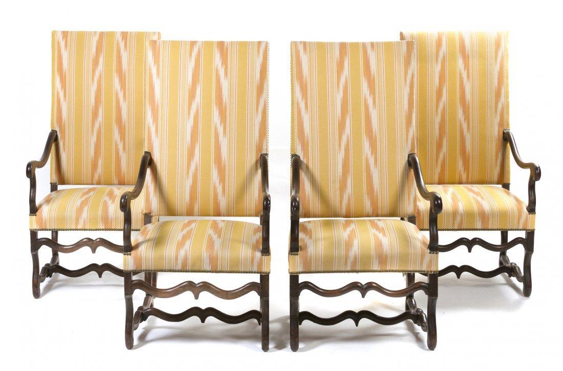 6: A Set of Four Italian Walnut Open Armchairs, Height