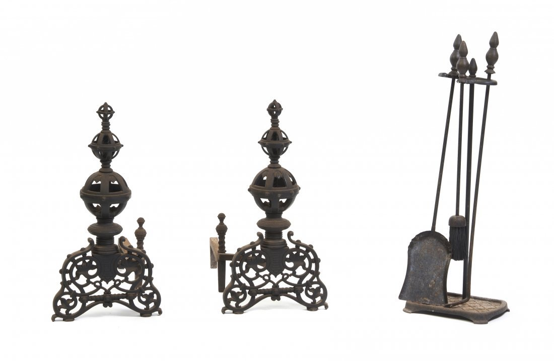 7: A Pair of Neoclassical Wrought Iron Andirons, Height