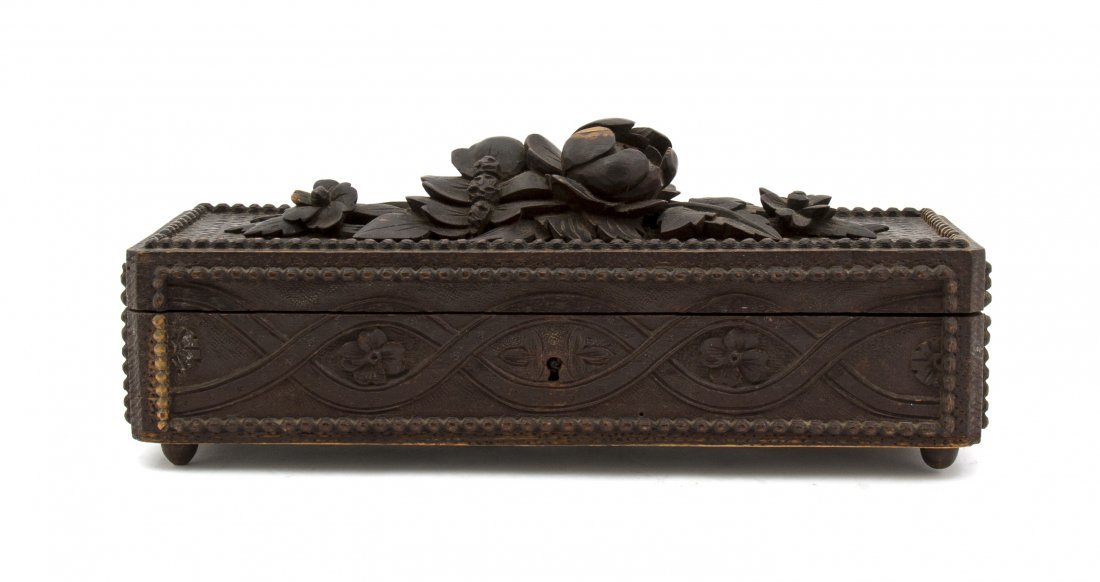 12: A Continental Carved Wood Table Casket, Width 11 1/